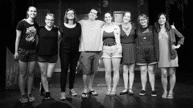 From right to left: Marian Kansas (Director & Producer), Cindy Page (Costume Designer), Lindsey McGowen (Lighting Designer), Chris Anderson (Stage Manager), Katy Matz (Dramaturg & Producer), Nicole Oglesby (Playwright & Producer), Amanda Perry (Set & Props Designer), Christabel Lin (Composer & Violinist). Photo by Daniel Ellsworth.