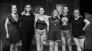 From right to left: Nicole Oglesby (Playwright & Producer), Lindsey McGowen (Lighting Designer), Katy Matz (Dramaturg & Producer), Amanda Perry (Set & Props Designer) Marian Kansas (Director & Producer), Cindy Page (Costume Designer). Photo by Daniel Ellsworth.