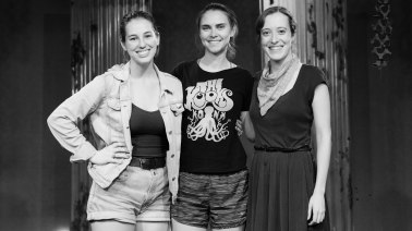 From right to left: Katy Matz (Dramaturg & Producer), Marian Kansas (Director & Producer), Nicole Oglesby (Playwright & Producer). Photo by Daniel Ellsworth.