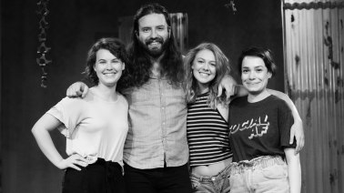 From right to left: Kenzie Stewart (Peg), Keith Adam Paxton (The Hunter), Laney Neumann (Margot), Franny Harold (Willa). Photo by Daniel Ellsworth.